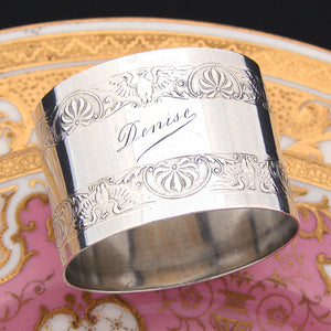 "Antique French Sterling Silver Napkin Ring, ""Denise"", Eagle or Bird Figural Bands"