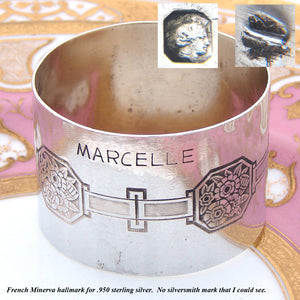 "Fine Antique French Sterling Silver Napkin Ring, Floral, ""Marcelle"" Inscription"