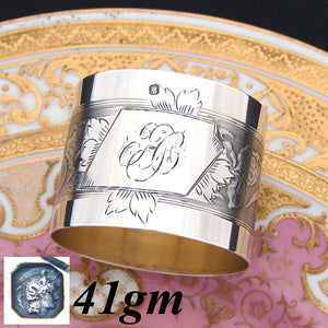 Antique French Sterling Silver Napkin Ring, Floral Decoration, Interlaced Monogram