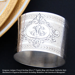 Antique French Sterling Silver Napkin Ring, Guilloche, Convex Shape, 50gm