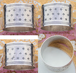 "Antique French Sterling Silver Napkin Ring, Guilloche Style, Medallion with ""HR"" Monogram"