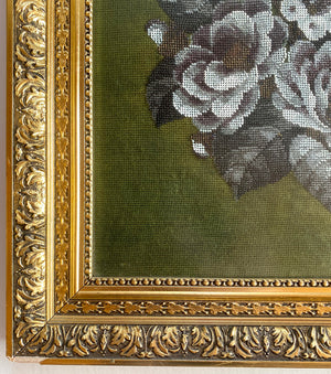 "Antique Victorian Needlepoint and Glass Beadwork Panel, Perfect for a Pillow, too, 25.5"" Square Frame"