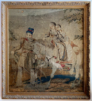 Antique Victorian Needlepoint of Queen Victoria's Children and John Brown, Horse