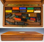 Antique French Watercolor Artist's Set, Fine Box and Loads of Aquarelle Bricks, L@@K!