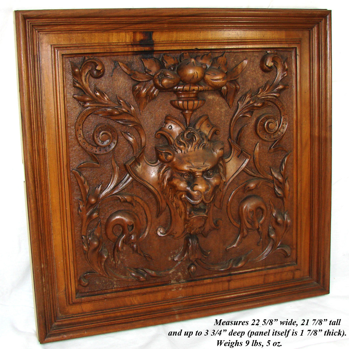 "Fab Antique Victorian Carved Walnut 22 5/8"" Panel, Plaque, Figural Lion & Cornucopia"
