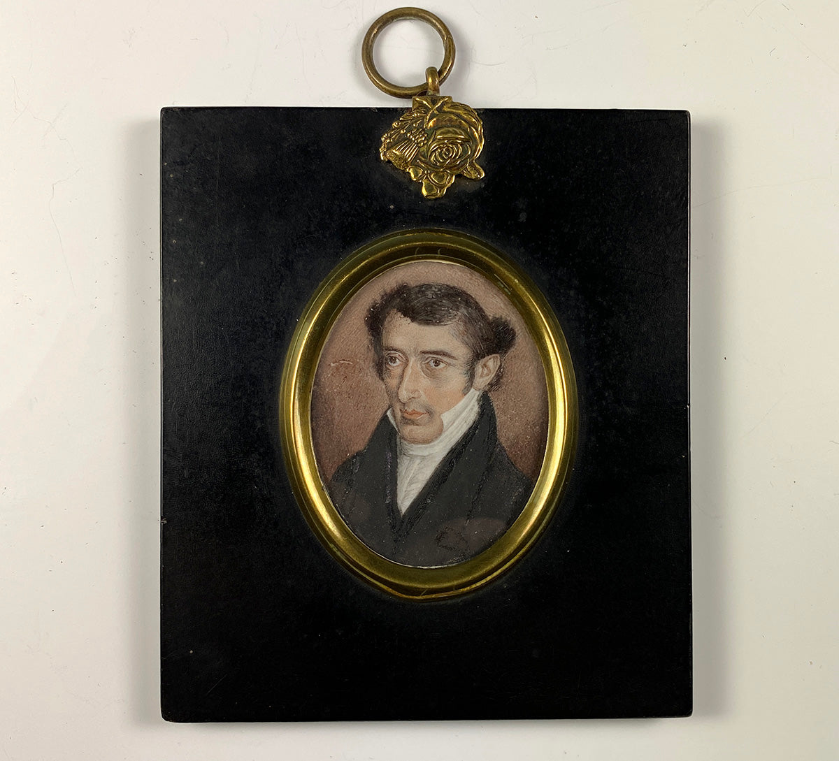 Antique Georgian English Portrait Miniature (c.1700s), Man with Combover, Frame