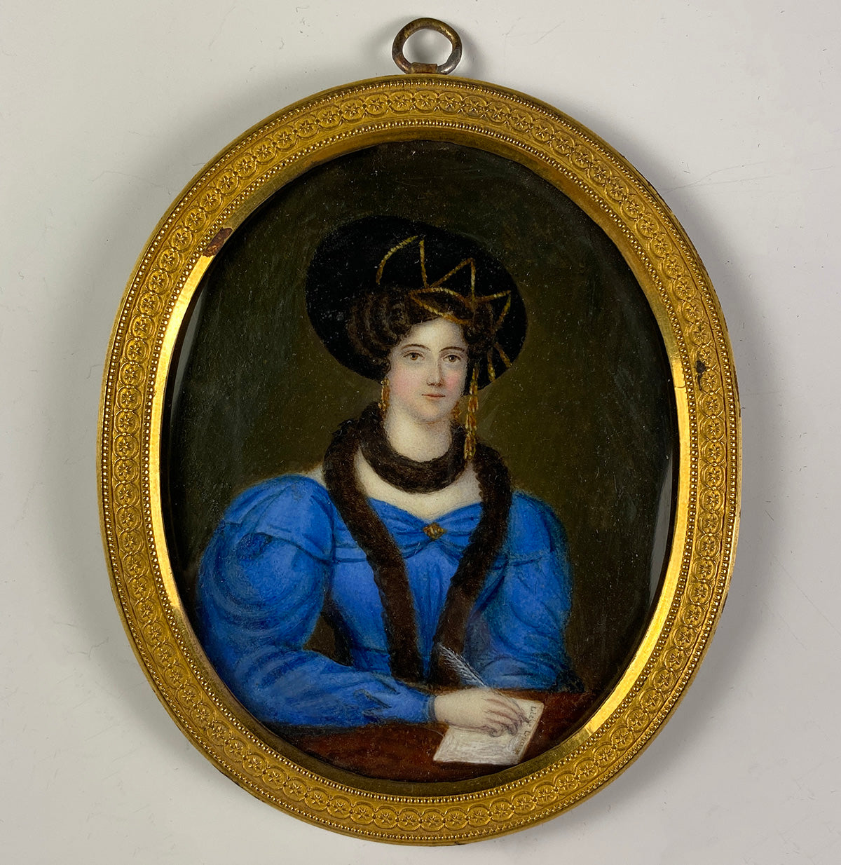 Fabulous Antique Georgian Portrait Miniature, Beautiful Lady in c.1820 High Fashion with Fur, Gigot Sleeve