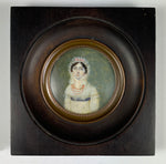 Antique French Empire Portrait Miniature, Lady in Bonnet, Empire Gown and Red Coral Jewelry