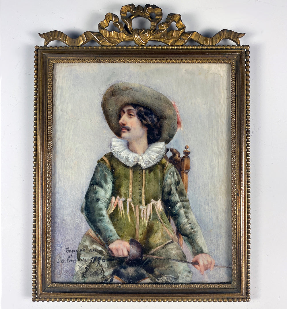 Antique French Portrait of an Actor in Costume, L.Kruppenbachen, c.1896 Paris Salon