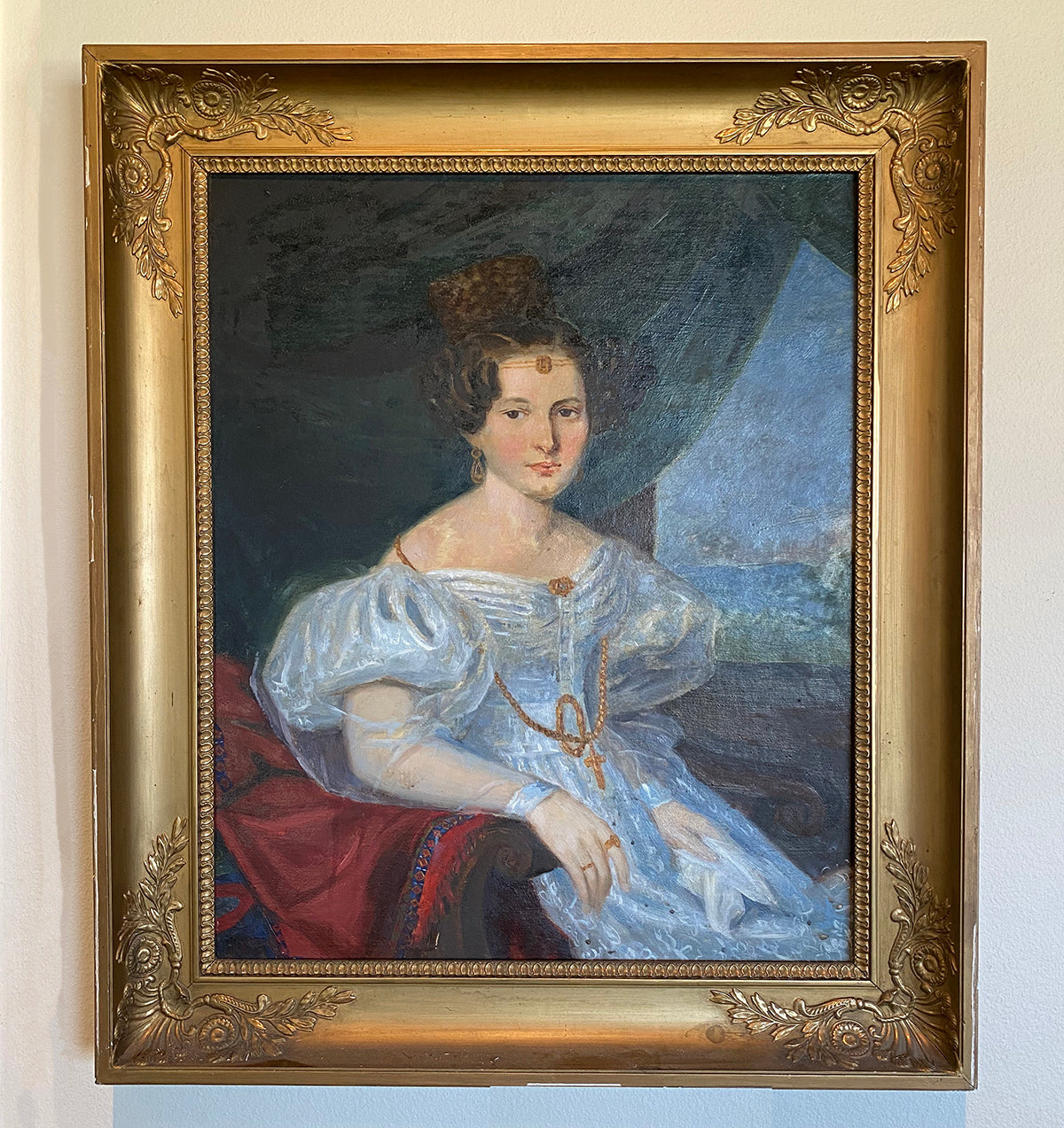 "Antique French Empire Frame 33"" x 28.5"" with Oil Painting Portrait of a Lady, extra Pastel Sketch on Back"