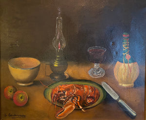 "Antique French Oil Painting, Still Life with Lobster & Wine, Artist Signed, 1911, Gold Frame 28"" x 24"""
