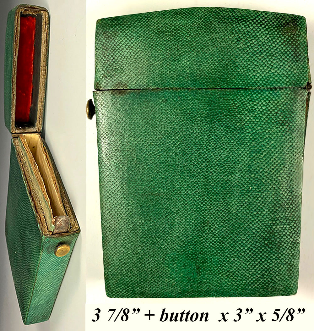 Antique Georgian c.1700s Shagreen Etui, Case for Carnet du Bal, Superb 4""