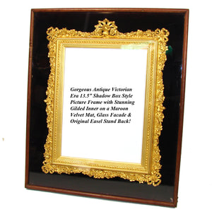 "Antique Victorian 13.5"" Shadow Box Style Picture Frame, Exquisite Gilded Inner Frame"