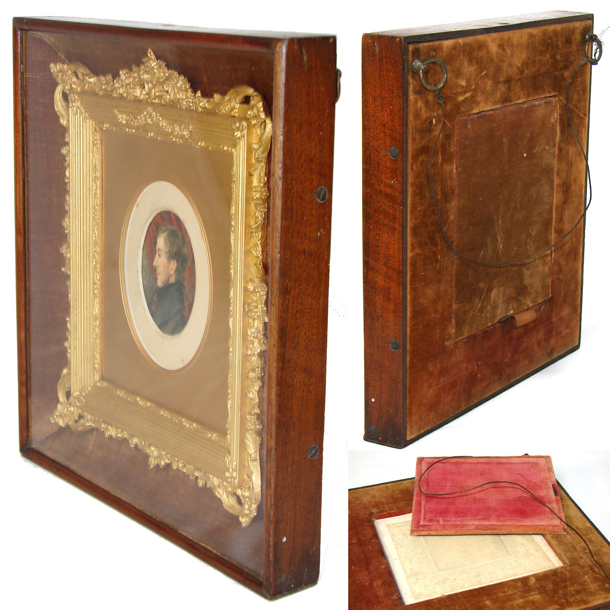 "Antique Victorian Shadow Box Style 11.25"" Picture Frame, Gilt Gesso, Profile Portrait Miniature"
