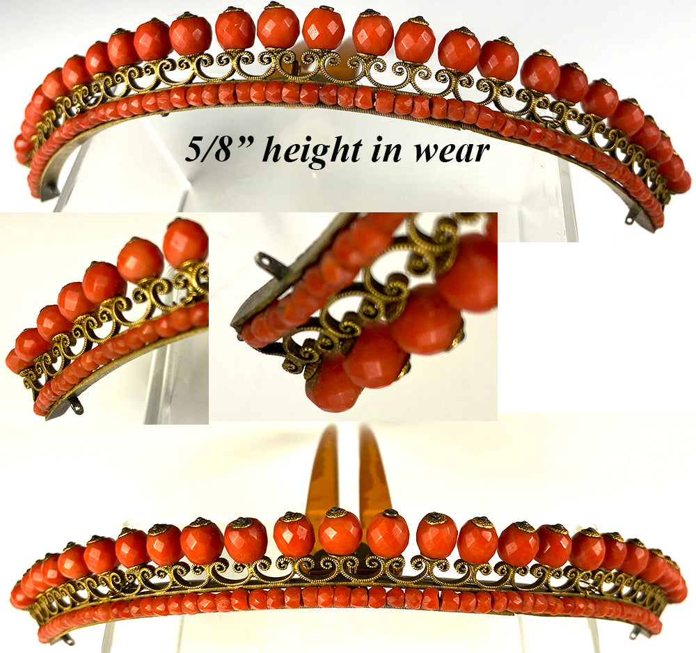 Antique French Empire Tiara in Red Coral with Swivel Comb to Set into Hair in Any Angle