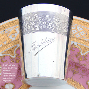 Elegant Antique French Sterling Silver Wine or Mint Julep Cup, Tumbler, Timbale