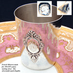 "Antique French Sterling Silver Wine or Mint Julep Cup, Tumbler or ""Timbale"", Raised Medallion"