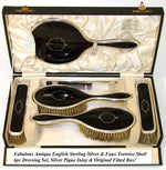 Antique English 1902 Hallmarked Sterling Silver Dressing or Vanity Set, Mirror & Brushes, Pique Inlay