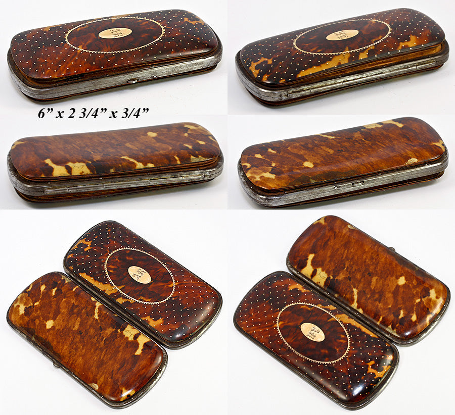 Antique French Cigar Case, Etui in Tortoise Shell, Spectacles Case - Tortoiseshell