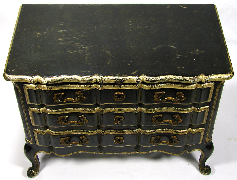 Vintage 1950 Bru Doll Sized Hand Made Meldan Chest of Drawers, Louis XV Style