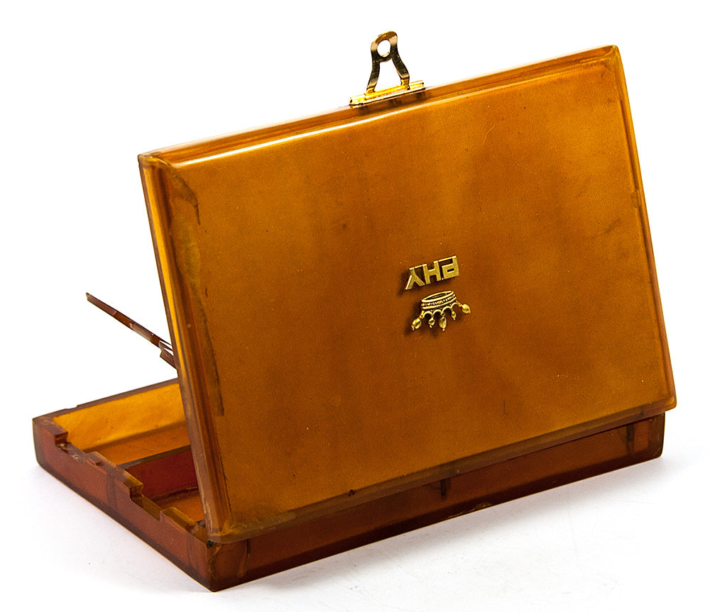 Antique French Minaudiere, Evening Purse or Compact in Blond Tortoise Shell with 18k Gold Crown, Monogram