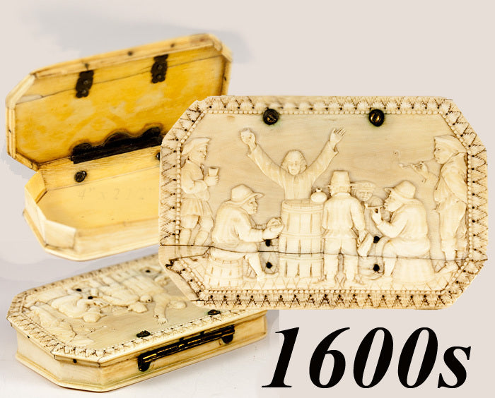 Antique Hand Carved Ivory Table Snuff Box, 7 People in Bas Relief, c. 17th to 18th Century