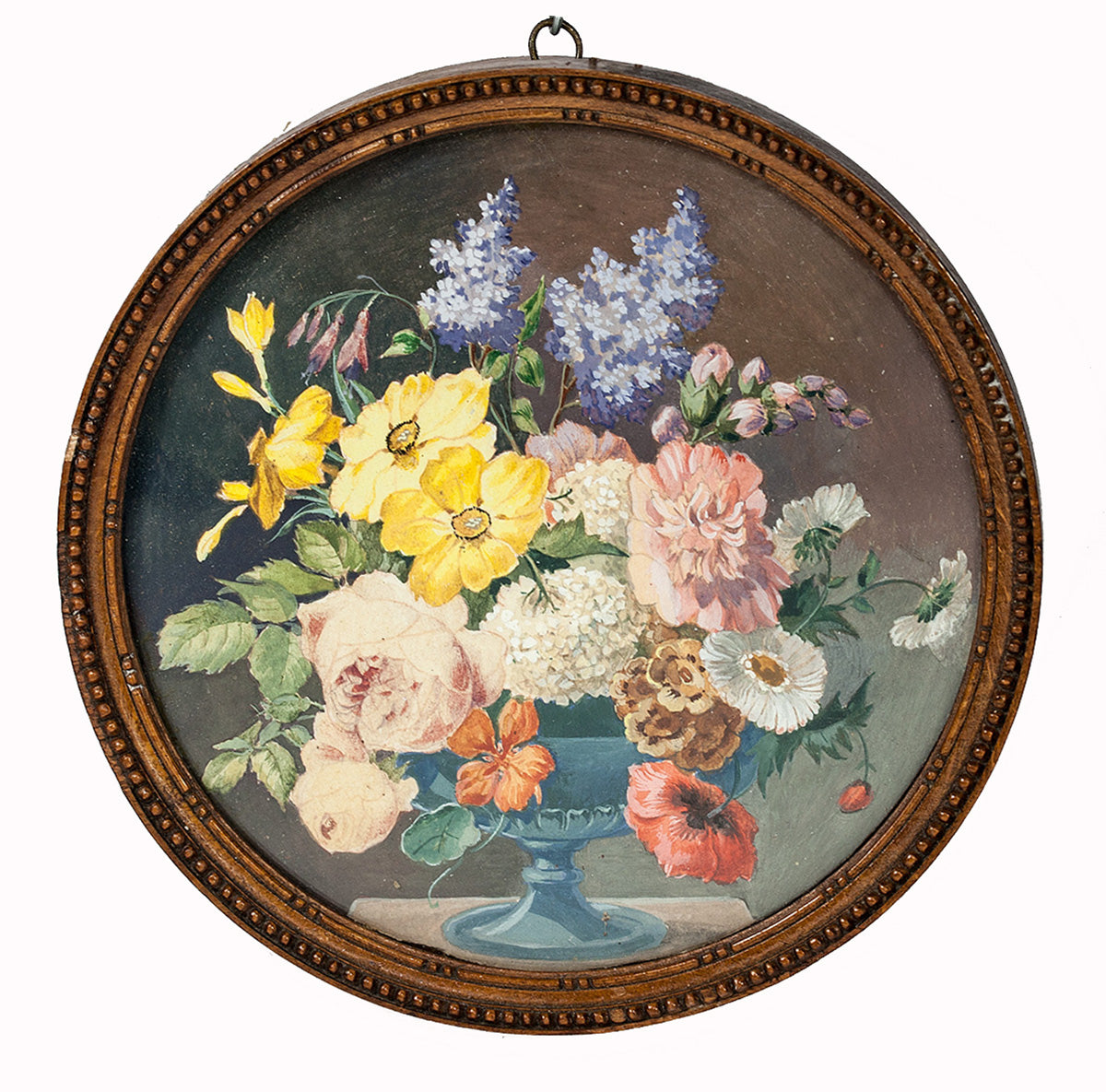 "Antique French Watercolor Painting, Bouquet in Vase Still Life, in Frame, Miniature 5 3/8"" Diam"