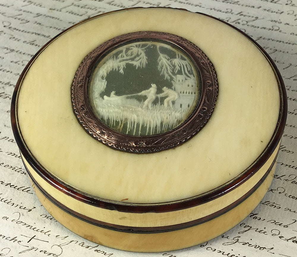 RARE c.1700s Dieppe Masterpiece, Carved Fishermen, Ivory and Tortoise Shell Snuff Box