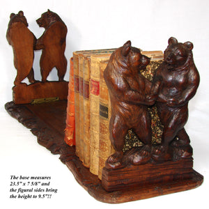 "Exq! Antique Black Forest Carved 23.5"" Telescoping Book Rack, Four Large Bear Figures"