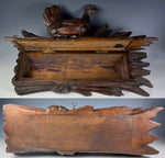 "Antique Swiss Carved Black Forest 14"" Long Documents or Gloves Box, Hen on Wheat, Lock w Key"