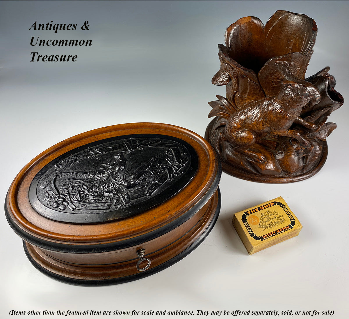 Antique French Jewelry Box, Casket with Key and Hunt Scene in Gutta Percha up top with Pheasants