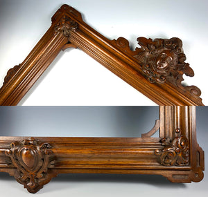 "Exceptional Neoclassical Antique Hand Carved Figural Frame, 18.25"" x 14"", for Art, Photo or Mirror"