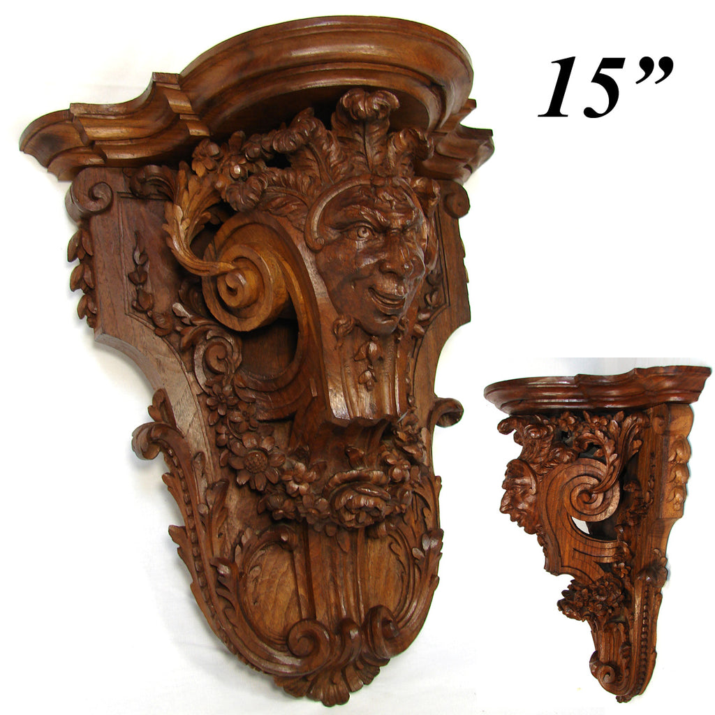 "Antique Victorian Era Carved Oak 15"" Wall or Bracket Shelf, Neo-Renaissance Style Jester Figure"