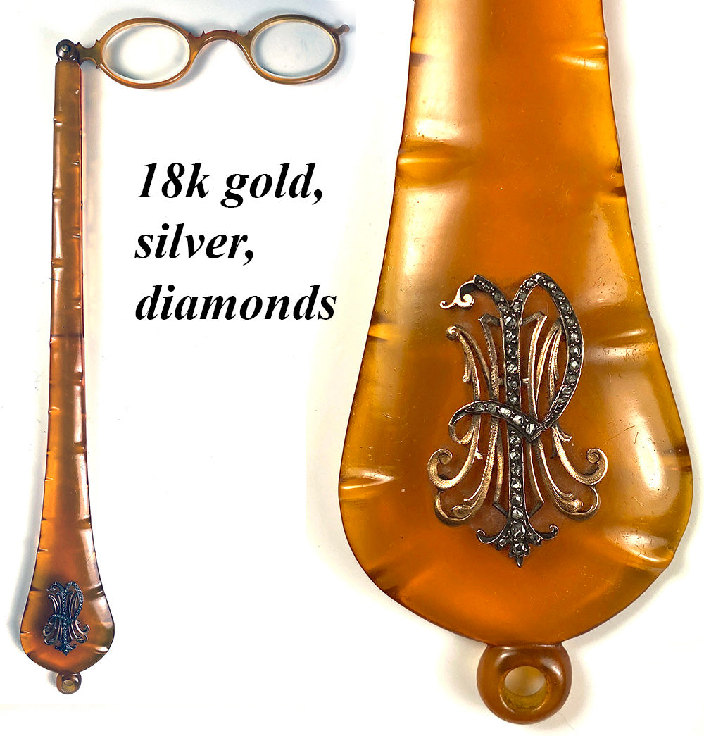 Antique French Blond Tortoise Shell Lorgnette, Opera Glasses, 18k Gold and Diamonds