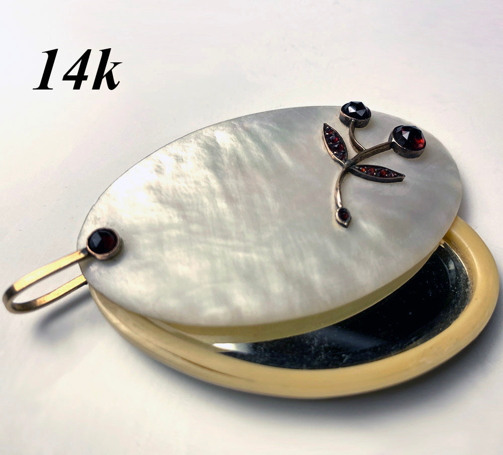 Antique Austrian Pocket or Purse Mirror, Pendant in Mother of Pearl, 14k Gold, Garnet Gem Setting