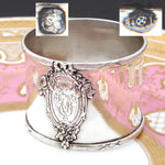 "Antique French Sterling Silver 2"" Napkin Ring, Classical Style, Bow, Ribbon & Floral Medallion"