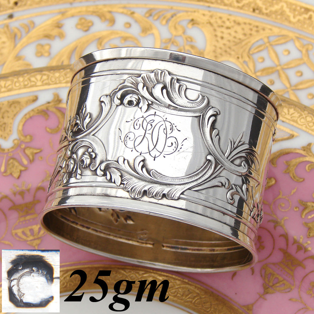 "Antique French Sterling Silver 2"" Napkin Ring, Louis XIV or Rococo Style"