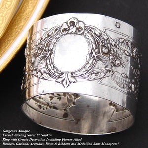 "Antique French Sterling Silver 2"" Napkin Ring, Ornate Empire Style Decoration"