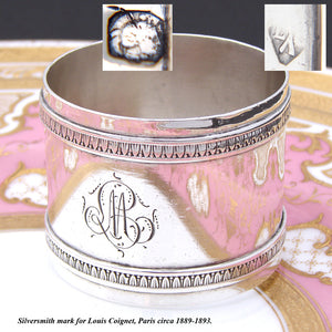 "Antique French Sterling Silver 2"" Napkin Ring, Classical Laurel Bands, ""LM"" Monogram"