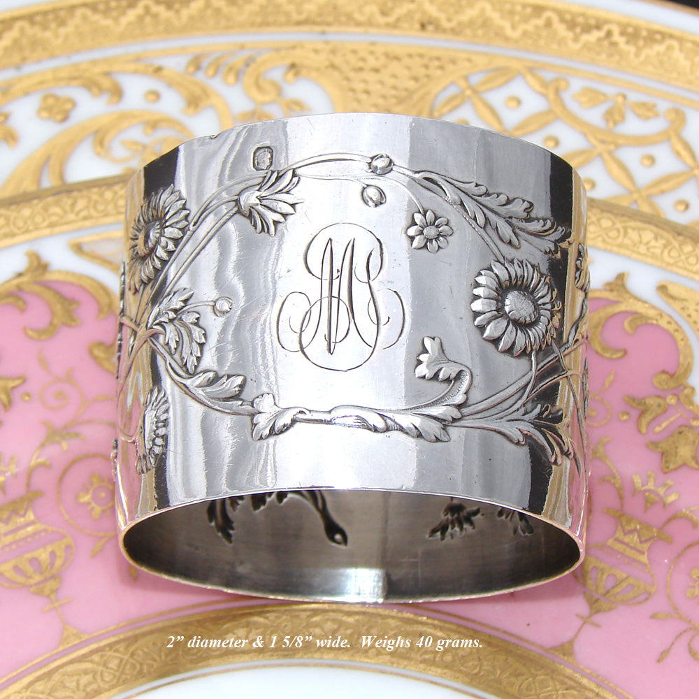 Lovely Antique Sterling Silver Napkin Ring, Raised Flower & Foliage Decoration