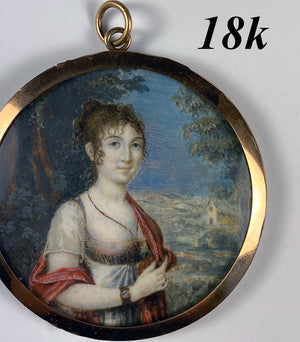 Antique French Napoleon Era Portrait Miniature in 18k Gold Locket Frame, ID'd Artist: Julie BOILY, c.1810