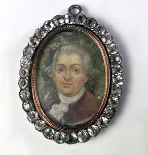 Antique Jeweled Frame, French Paste Gem Pendant, Portrait Miniature, c.1700s, Silver and 18k Gold Bezel