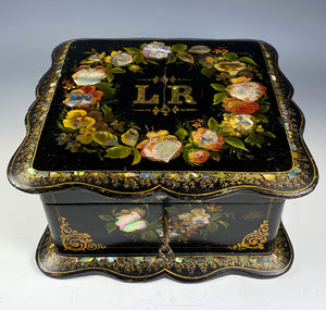 Antique Victorian Papier-Mâché Jewelry Box, Mother of Pearl Inlays, Lock and Key