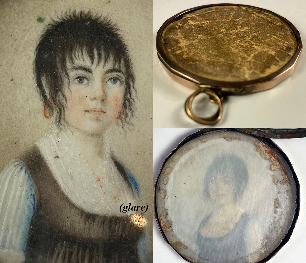 RARE Antique c.1797-1810 French Portrait Miniature Young Girl, Guillotine Haircut, Titus, 10k Gold