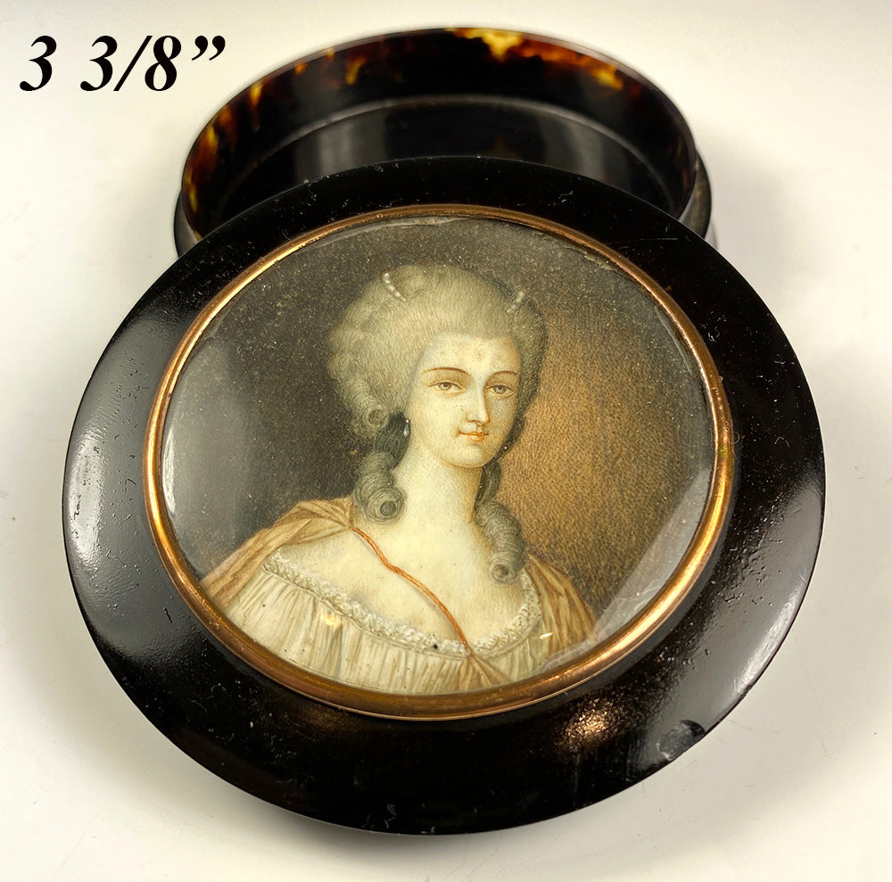 Antique French Portrait Miniature Mount Snuff Box, c.1750s, Beautiful Woman