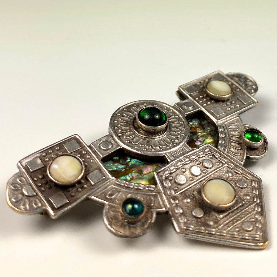 Antique Vienna Secessionist Bespoke Jeweled Brooch, Fiery Opal, Gems, Silver on Brass c. 1890s