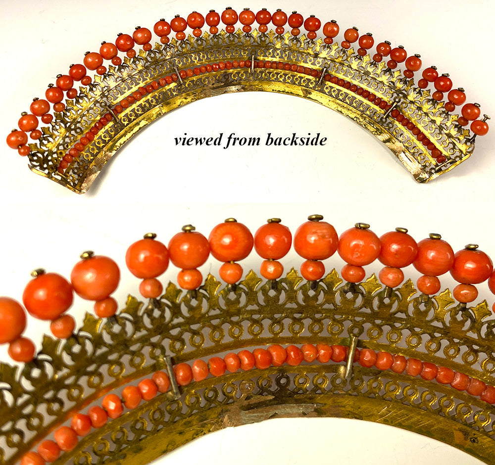 Antique French Empire Red Coral and Ormolu Tiara, Diadem, Crown Hair Ornament, c.1810