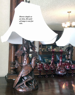 "Antique HC Black Forest (Swiss) Candle Holder or Epergne, Perfect for Lamps at 11+"" Tall, Birds"
