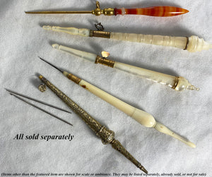 Antique Palais Royal Crochet Hook, Tambour, Ivory and 18k Gold Fitting, Self-encasing Case, Handle