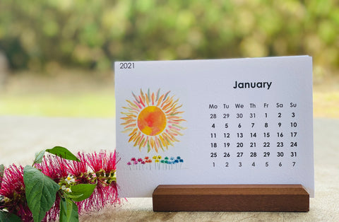 2021 Desktop Calendar & Display beechwood stand